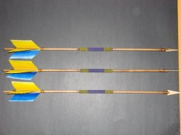Beaded Blue and Gold Arrows